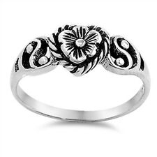 Plumeria Flower Heart Ring, Fancy Filigree Sterling Silver, Love Promise Style