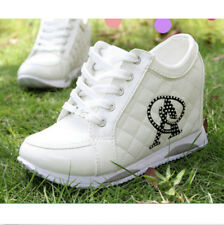 Sneakers Womens Hidden Wedge Heel Athletic Casual Rhinestones High Top New Shoes