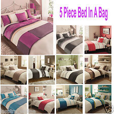 5 PC BED IN A BAG PRINTED EMBROIDERY COLOURED LUXURY  DUVET SET QUILT COVER SIZE