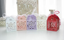 50x Love Heart Wedding Bomboniere/Favour Boxes with Ribbon Party Thank You Gift