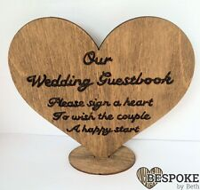 Personalised Wooden Keepsake Heart With Stand Wedding Table Num Guestbook Sign