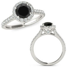 2 Carat Black Diamond Halo Half Eternity Wedding Fancy Ring 14K White Gold