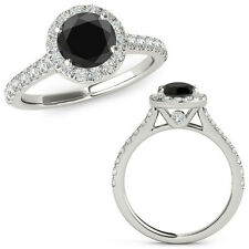 0.50 Carat Black Diamond Halo Half Eternity Wedding Fancy Ring 14K White Gold
