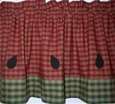 Homespun Watermelon Valance Primitive Country Curtain Summer Kitchen Decor