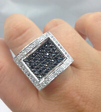 Mens 14k White Gold Gp Simulate BLACK Diamond iced out Ring *slightly imperfect*