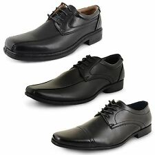 Mens New Black Lace Up Faux Leather Office Work Formal Dress Wedding Shoes Size