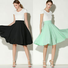 Summer Hepburn High Waist Knee-Length Pleated Ball Gown A-Line Swing Midi Skirt
