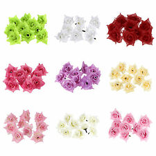 "25 PCS Roses Artificial Silk Flower Head Lot 1.75"" Hair Lots Wedding Party Decor"