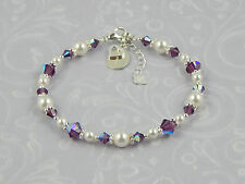 Girls Ladies .925 Silver BRIDESMAID Charm Bracelet Choice of COLOURS Gift Boxed