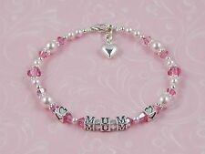 LADIES Sterling Silver MUM Heart Charm BRACELET Birthday Mother's Day GIFT Boxed