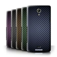 STUFF4 Back Case/Cover/Skin for Sony Xperia T/LT30/Carbon Fibre Effect/Pattern