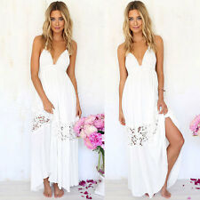 New Long Beach Bride Evening Party Prom Wedding Dresses Backless Lace Maxi Dress