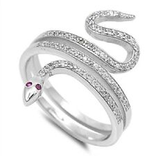 Pink Eyed Snake CZ Ring, 925 Sterling Silver, Power, Healing, Animals, Fancy