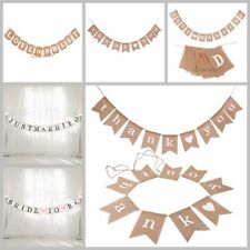 Rustic Vintage Wedding Just Married & Mr & Mrs Hessian Burlap Bunting Banner