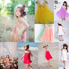 New Kids Baby Girls Sequins Chiffon Pleated Sundress Princess Party Dress 3-8Y