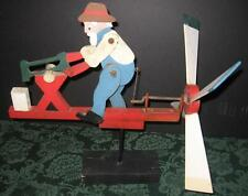 Antique Vintage Wooden Folk Art Whirligig Man Sawing Log