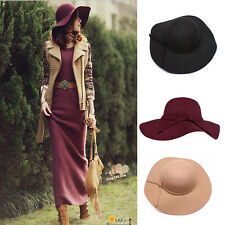 New Sun Vintage Women's Wide Brim Wool Felt Bowler Fedora Hat Floppy Cloche Cap
