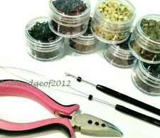 200 Silicone MICRO BEADS Feather Hair Extension TOOL KIT- Hair Pliers/HOOK/LOOP