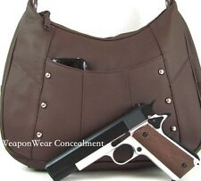 Leather Locking Concealment Concealed Carry CCW Holster Conceal Gun Purse #46