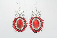 Soutache earrings homemade fabric earrings crochet women's jewelry Cupids