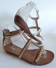New Girls Brown-Tan or White Beads Gladiator Low Wedge Heel Sandals Sizes 9-4 US