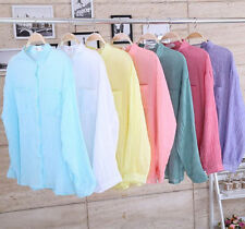 Women Stand Collar Pocket Loose Cotton Linen Shirt Casual Colorful Button Blouse