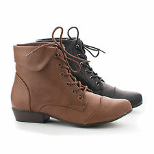 Indy11 Pointy Toe Folded Ankle Collar Lace Up Booties