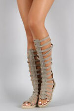 Women's Shoes - Beige Denim Knee-High Gladiator Sandals Espadrille Flats