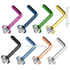 1pc of color - 20g~2mm Prong Set CZ Top Titanium Anodized 316L L-Bend Nose Stud