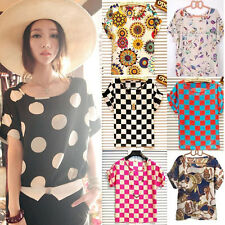 Summer Women Loose Chiffon Floral Blouse Tops Casual Batwing Sleeve T-Shirt HOT