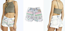 Womens Aztec Printed Worn Off Denim Shorts Ladies Faded Studded High Waist Pants