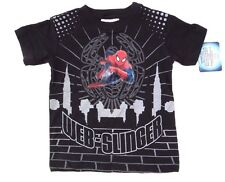 Marvel Spider-Man Boys Light Up Spiderman Black T-Shirt Sizes 4-10 NWT