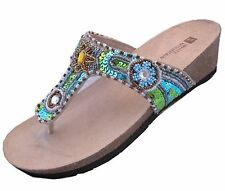 White Mountain Sandals Shoes Bluejay Jeweled Womens Leather 7M NIB