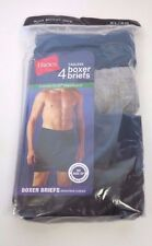 NWT Hanes Men's Boxer Briefs with ComfortSoft Waistband 4-Pack ASSORTED COLORS