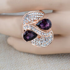 Fashion 18K Rose Gold Plated Double Purple Crystal Ring Jewelry CZ Rhinestone