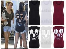 New Womens Sleeveless Laser Cut Out Skull Back Baggy TShirt Vest Top Size 8-14