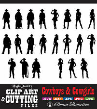 Cowboy & Cowgirl Clip Art / Cutting File Images CD - SVG, DXF, JPG, PNG, EPS