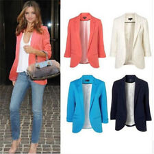 Women Fashion Outerwear Solid Candy Colors Slim Fit Suit Jacket Blazer Coat Tops