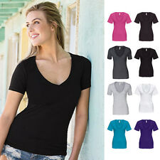 New Junior Women Short Sleeve V-Neck Basic Plain T-Shirt Top Tight Fitted S-2XL