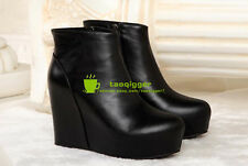 Punk Womens Wedge Hidden Heel Pointed Toe Retro Ankle Boots Creeper Shoes Size