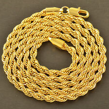"""handsome 9K Yellow Gold Filled Men's Rope Chain Necklace 24 Inches"""",Z1888"""