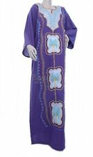 Egyptian Cotton Embroidered Galabeya Abaya Islamic Dress Violet Jilbab Kaftan
