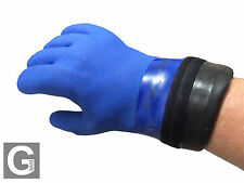 Blue Gloves for Drysuit with Latex Wrist Seal (No ring system required)