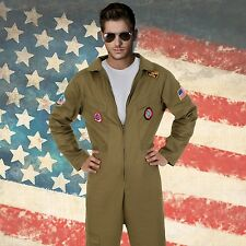 Mens Air Force Fighter Pilot Costume Flight Suit Top Gun Military Party Outfit
