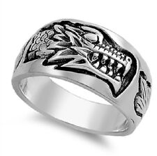 Carved Dragon Ring, 925 Sterling Silver, Men's, Rocker Style, Precise, Costume