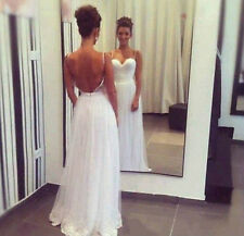 New Sexy Backless Wedding Dress Bridal Gown  Custom Size 4 6 8 10 12 14 16++