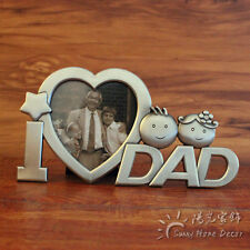 "3"" Metal Art Heart Shaped Dad / Mom Photo Frame Father's and Mother's Day Gift"