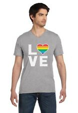 Love - Rainbow Heart Gay & Lesbian Equal Rights Pride V-Neck T-Shirt Cool