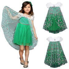 Frozen Elsa Princess Costume Girls Party Fancy Pageant Dress Lace Short Sleeved