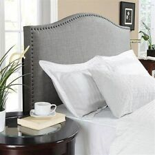 Upholstered Linen Fabric Headboard Nailhead Full Queen Size Bed Frame Furniture